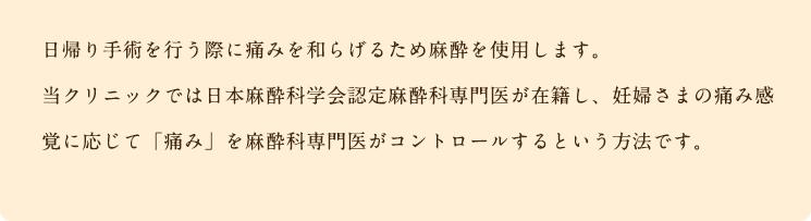 日帰り手術を行う際に痛みを和らげるため麻酔を使用します。当院では日本麻酔科学会認定麻酔科専門医が在籍し、妊婦さまの痛み感覚に応じて「痛み」を麻酔科専門医がコントロールするという方法です。